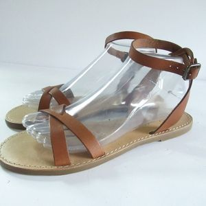 Madewell Sandals Brown Leather Ankle Strap